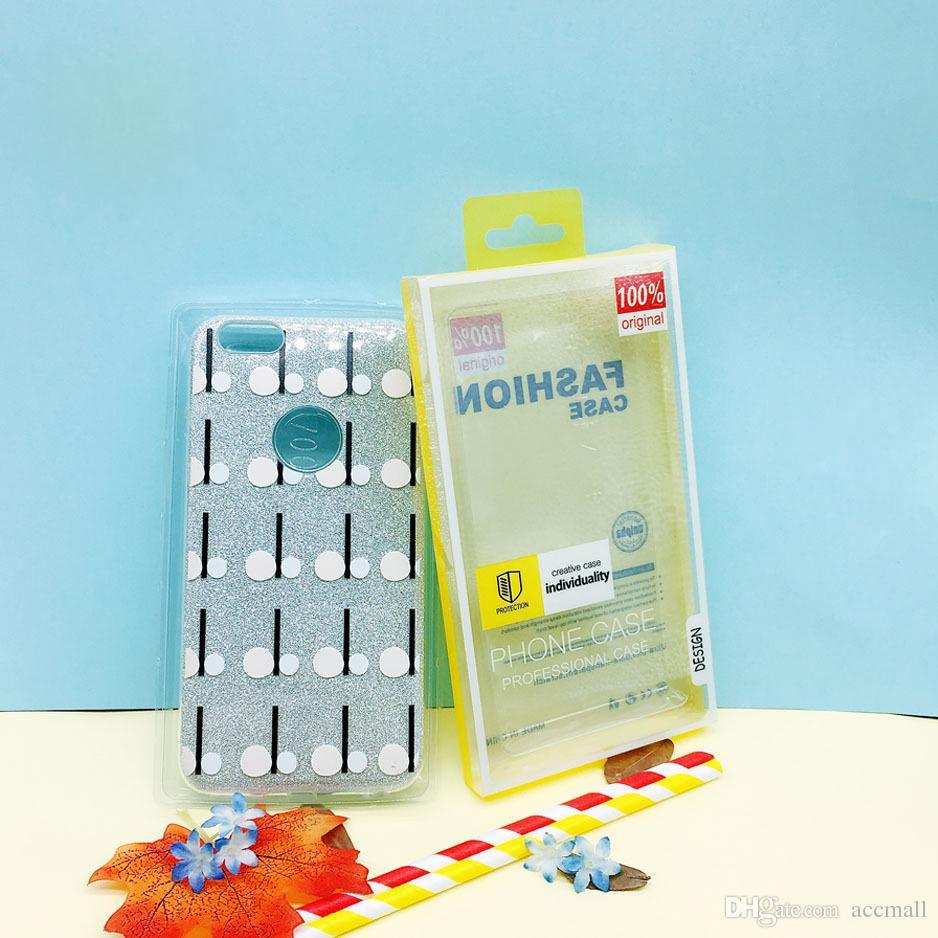 Universal Mobile Phone Case Package PVC Transparente Transparente Caixa De Embalagem De Plástico De Varejo para o iphone 6 7 8 Mais 5.5 polegada Samsung / HTC Celular