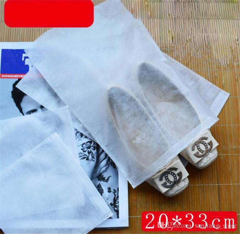 Non-woven Fabric Shoes Drawstring Bag Reusable White Dustproof Shoes Cover Storage Bag With Rope 20*33cm 20*38cm 24*38cm 25*33cm 38*28cm NEW