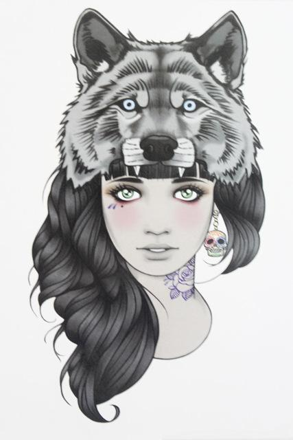 Venta Al Por Mayor Chica Con Tatuaje De Cabeza De Lobo 21 X 15 Cm De