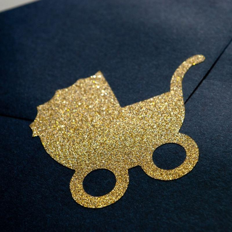 Gold/Silver Glitter Baby Carriage Envelope Seals For Birthday Baby ...