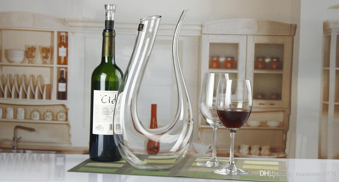 1500ml Big crystal handmade red wine decanter wedding wine decanter red glass wine dispenser U-shaped decanter Pourers J1102