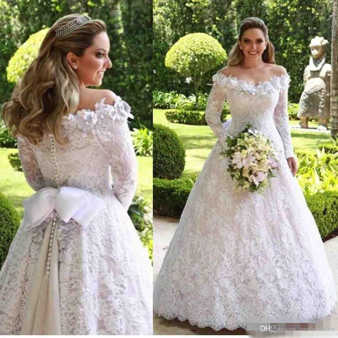 2019 Vintage Off The Shoulder White Wedding Dresses With Long Sleeve Full Lace A Line Arabic Country Style Bridal Gowns With Bow Sash