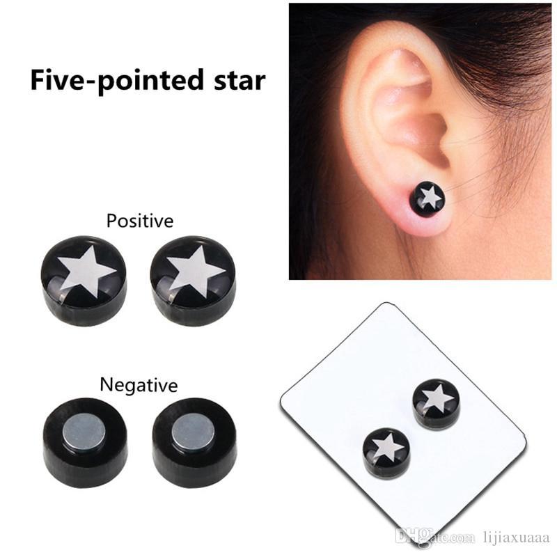 Orecchini a forma di gocciolamento nero Orecchini a forma di le donne Uomini Bianco Nero Magnete magnetico Orecchini a forma di orecchio Clip su nessun regalo foro orecchio