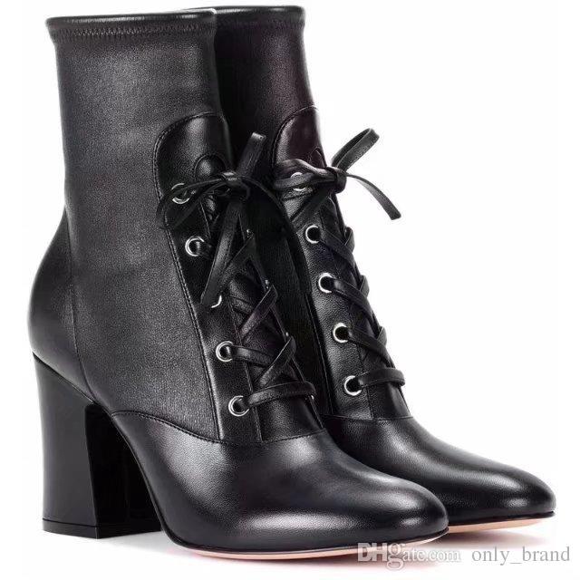 Siyah Deri Martin Patik erkekler için Yüksek topuklu bağcıklı Lace up Bayanlar Moda Çizmeler