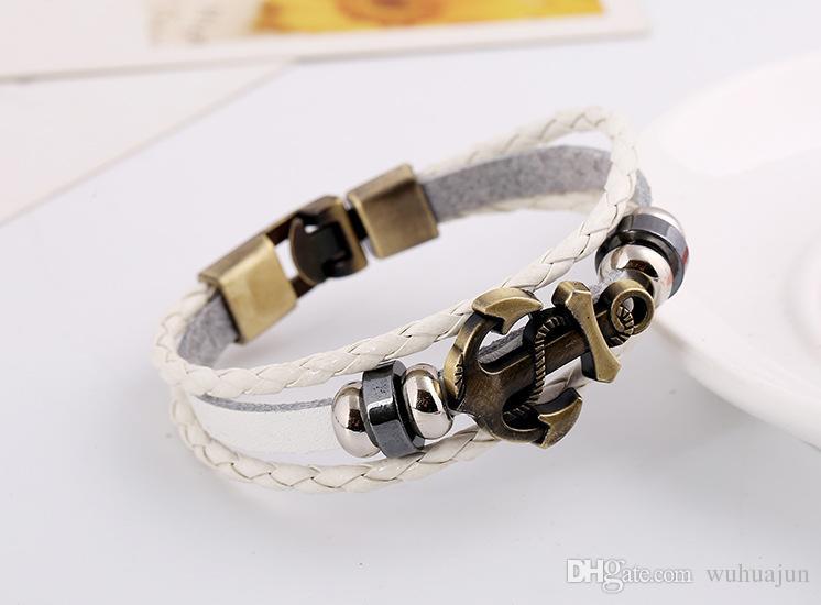 2017 New Classic Style Men Bracelets 100% Leather Charm Bracelet Black/Brown/White Alloy Anchor Woven Bracelets