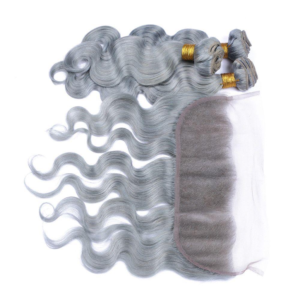 Silber Grau Körperwelle Haarbündel Mit 13 * 4 Spitze Band Frontal Verschluss Brasilianisches Reines Haar Grau Bundles Mit Ohr Zu Ohr Spitze Frontal