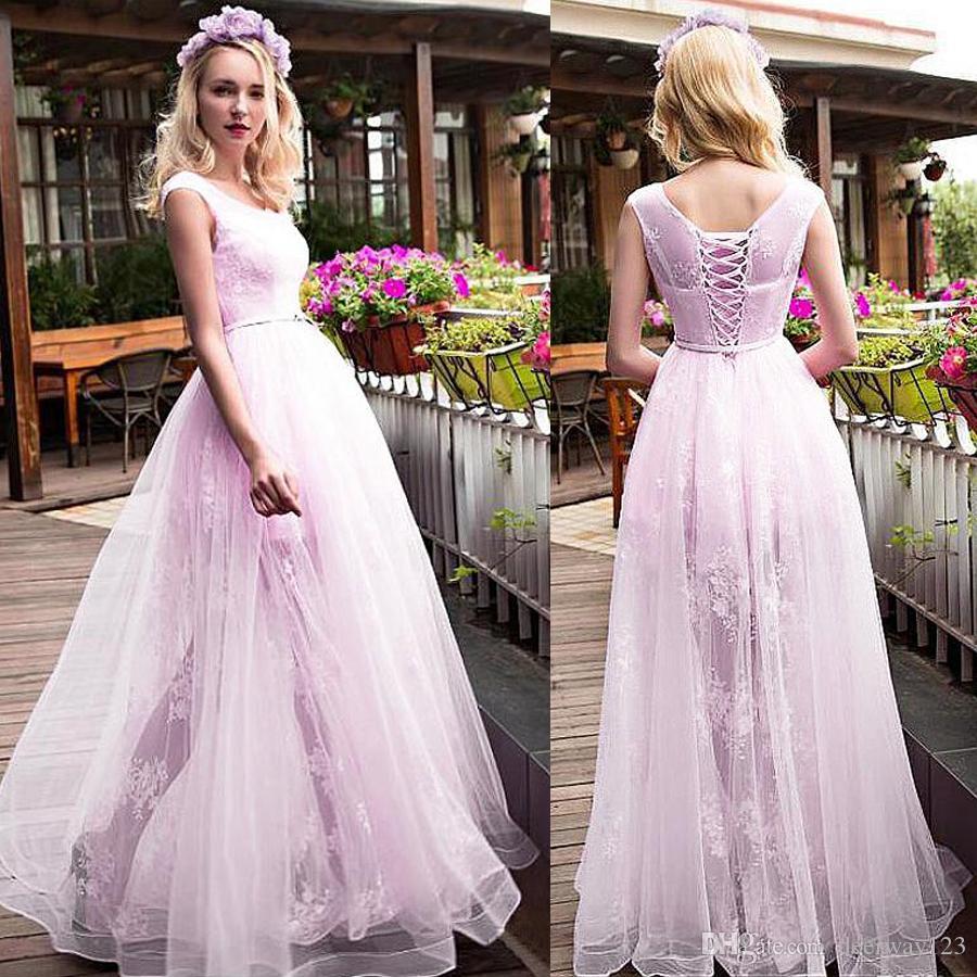 7c43f2156 Scoop Neckline A Line Evening Dresses With Belt Pink Lace Floor ...