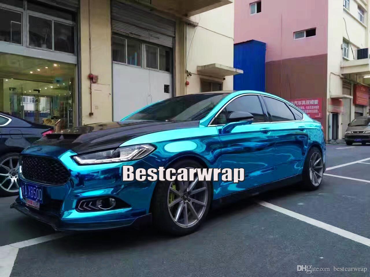 Высокое качество хром светло-голубой винил для автомобиля обернуть с воздушным пузырем бесплатно легко stertch для стайлинга автомобилей размер: 1.52x20m / крен 5x66ft