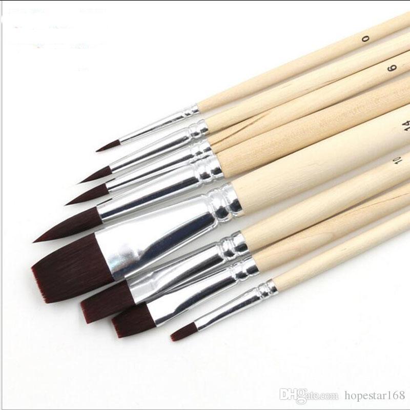 Pébéo Nylon Cheveux Peinture Brosse Set Tête En Bois Poignée Artistes Gouache Aquarelle Acrylique Brosses Art Fournitures / ensemble