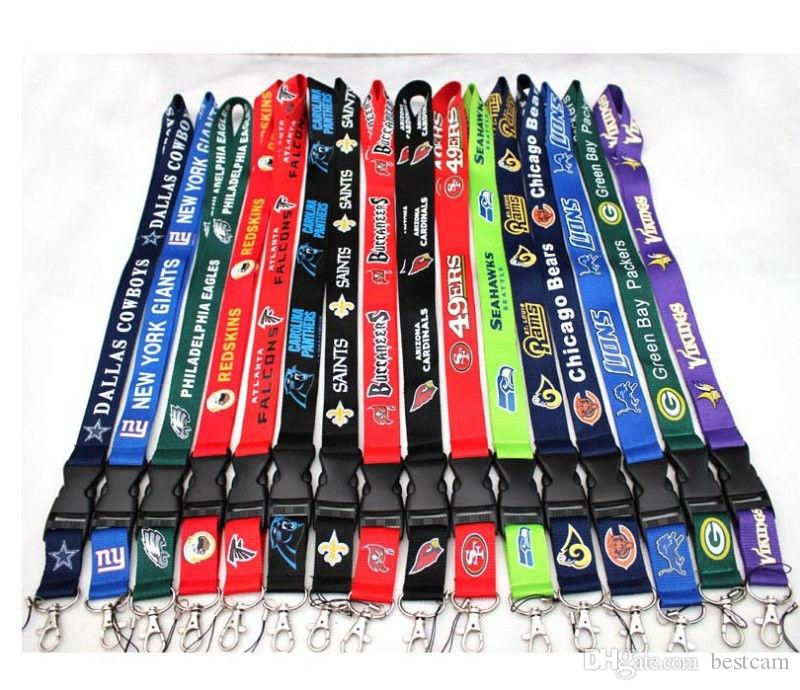 뜨거운 판매 풋볼 팀 끈 ID 카드 배지 홀더 분리형 키 체인 크리스마스 선물 컬렉션 무료 배송
