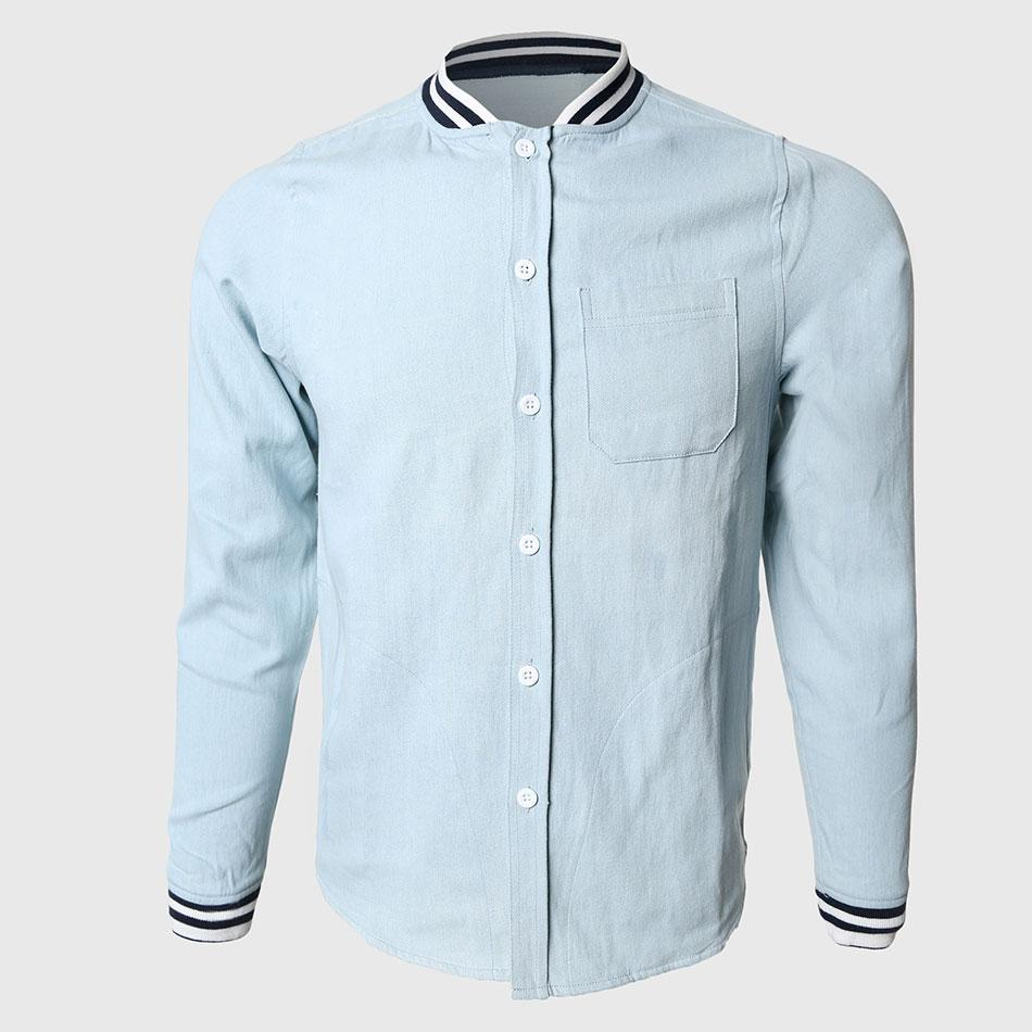 2019 Wholesale Men Solid Denim Shirts Cool Long Sleeve Shirts