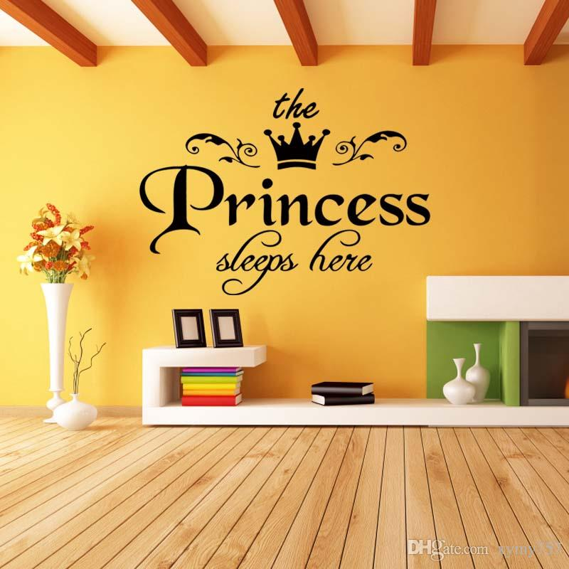 Princess Sleeps Baby Kids Girl Quote Wall Cute Stickers Art Room Bedroom Removable Decals Decor Vinyl Diy