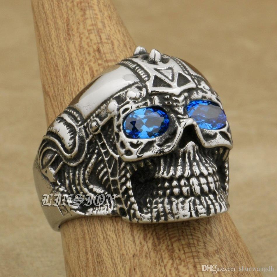 LINSION 316L Paslanmaz Çelik Punk Rock Kafatası Mavi CZ Gözler Erkek Punk Yüzük 4E136