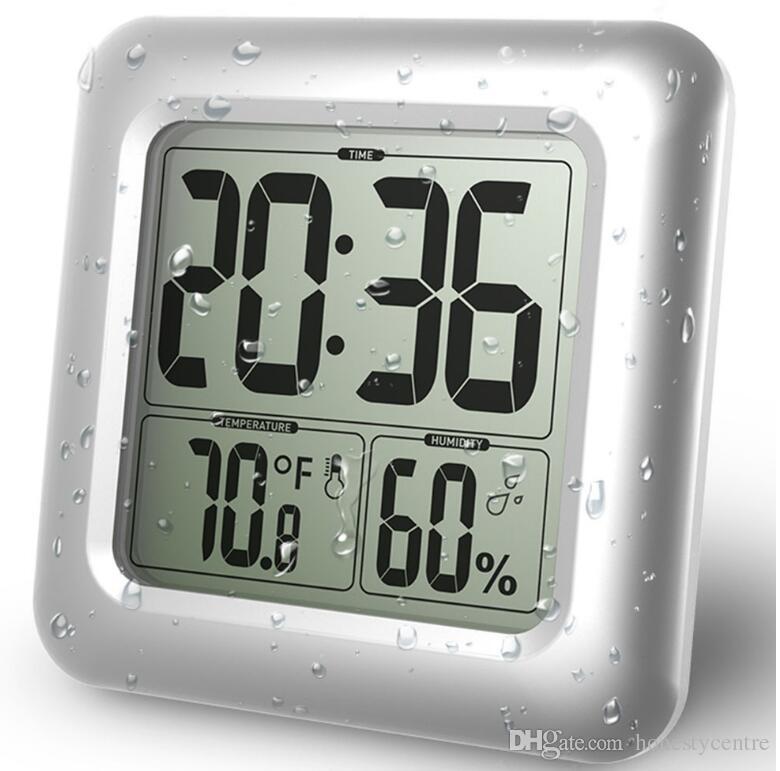 92fe1653fdc Compre À Prova D  água Digital Grande Relógio De Parede Relógios De  Chuveiro Termômetro De Temperatura E Umidade Com Ventosa Para O Banheiro  Cozinha De ...