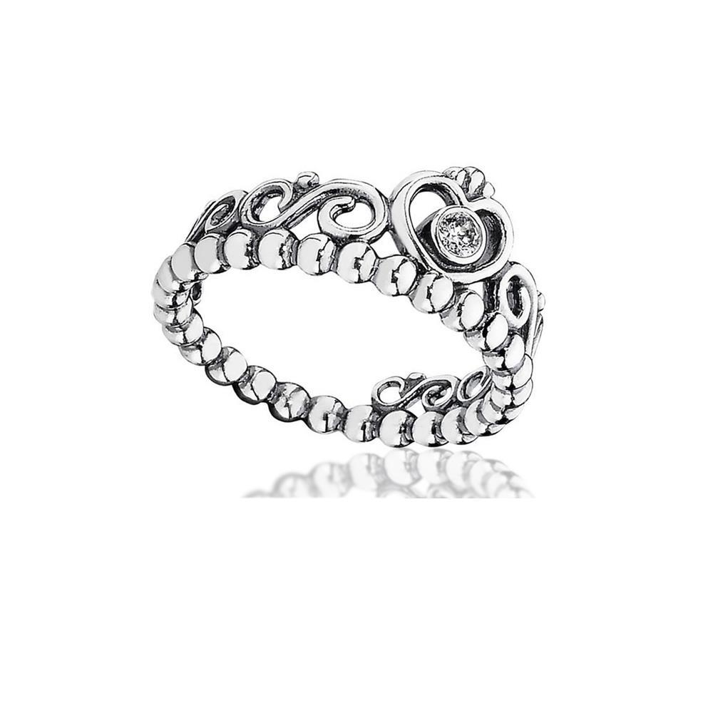53b199c2516e15 ... reduced 2018 100 925 sterling silver my princess stackable ring clear  cz crown ring fits european