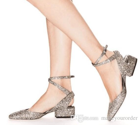 Silver Chunky Heels 2017 Pointy Shoes Sequined Sandals Pointed Toe High  Heel Women Shoe 338 Birkenstock Shoes Brown Dress Shoes From Makeyourorder ae0a70b42cbf