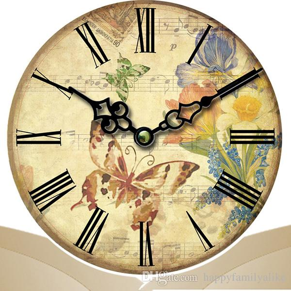 Classic Wall Clock Colorful Flower Design Clock Silent Living Room ...