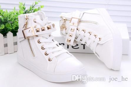 Nuovo stile moda 2017 tendenza sneakers le donne punta rotonda donna casual high top in gomma suola delle donne scarpe di tela 35-40 vendita al dettaglio