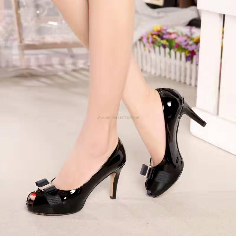60c4c1cf387 Hot Black Nude Patent Leather Women Stud Sandals Slingback Pumps Two Ankle  Buckles Ladies Sexy High Heels Neon Color Wedding Shoes With Box