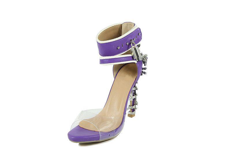 luxury design crystals diamond sandals wedding bride dress shoes nude purple metal padlock high heel prom party shoes ladies summer sandals