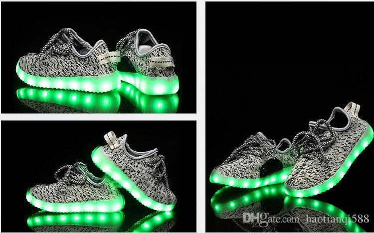 Eur25-37 usb charging breathable summer children basket led shoes kids with lights up luminous shoes for girls&boys sneakers