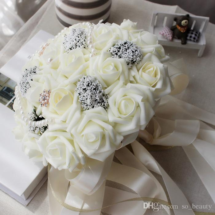 25cm Rose Artificial Pearls Bridal Bouquet Bride Flowers Wedding Bouquet Silk Ribbon New Buque De Noiva