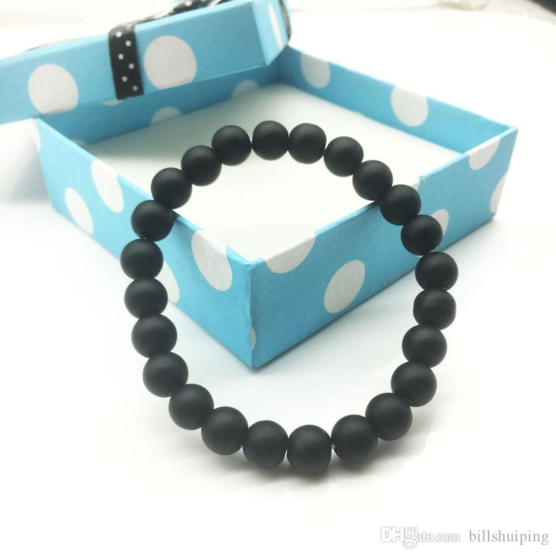 Wholesale 8mm New Handmade Diffuser Jewelry Anti-fatigue black Stone Charms Bracelets Prayer Beads Bracelet