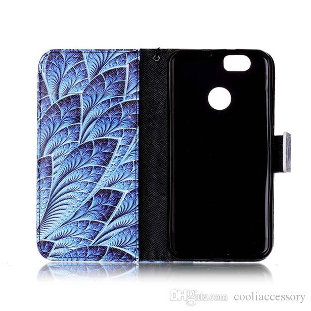 Étui portefeuille en cuir sangle pour Huawei Ascend P9 P8 Lite NOVA Y3 Y5 Y6 II Y625 Honneur 7 8 5C 4C Stand Carte TPU Bande Dessinée Fleur Couverture