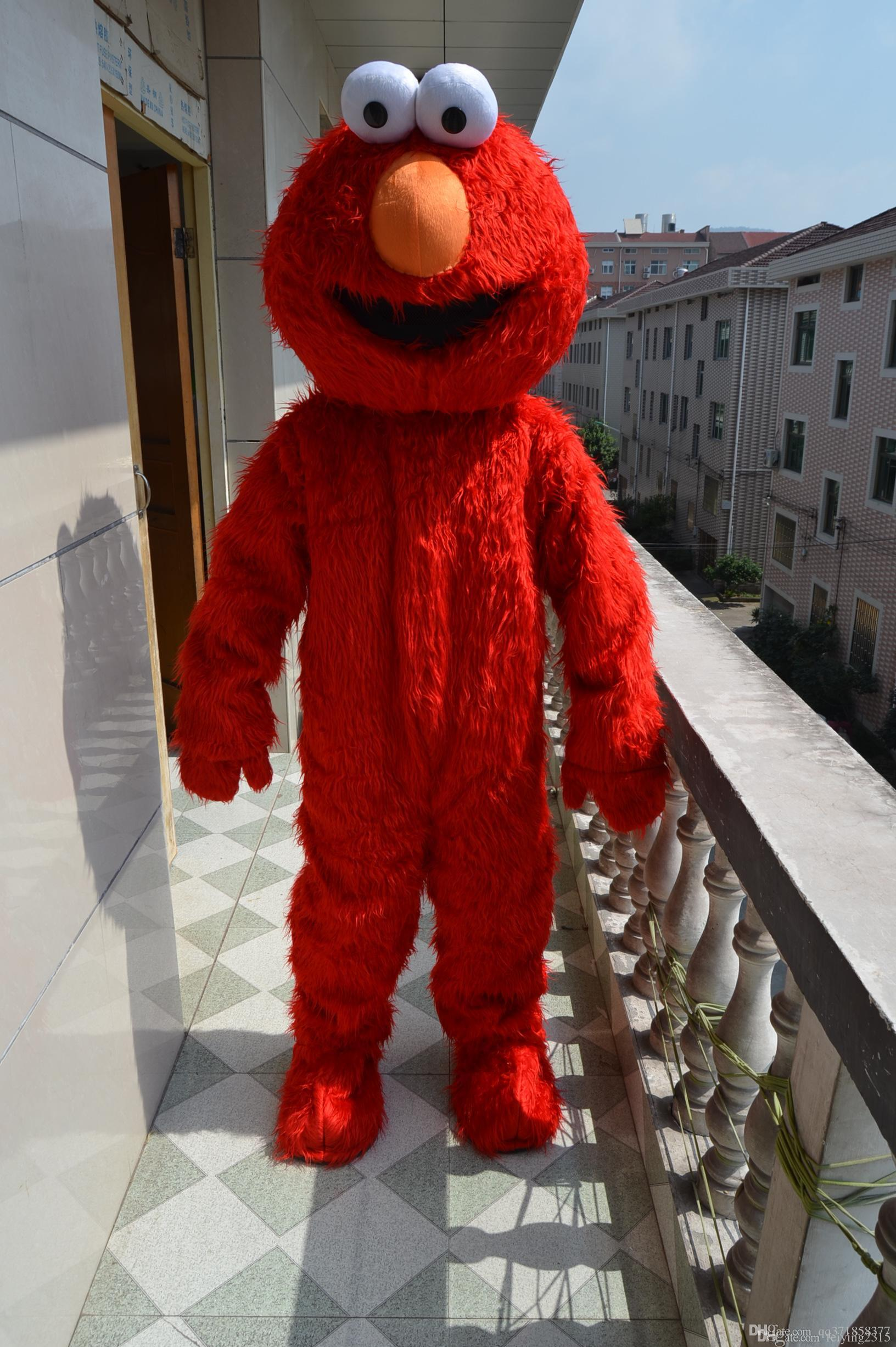 Hot Sale Adult Elmo Red Monster Mascot Costume Fancy Party Dress ...