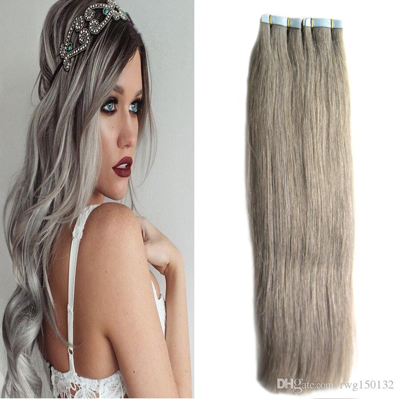 Silver hair extensions wholesale skin weft tape in human hair see larger image pmusecretfo Gallery