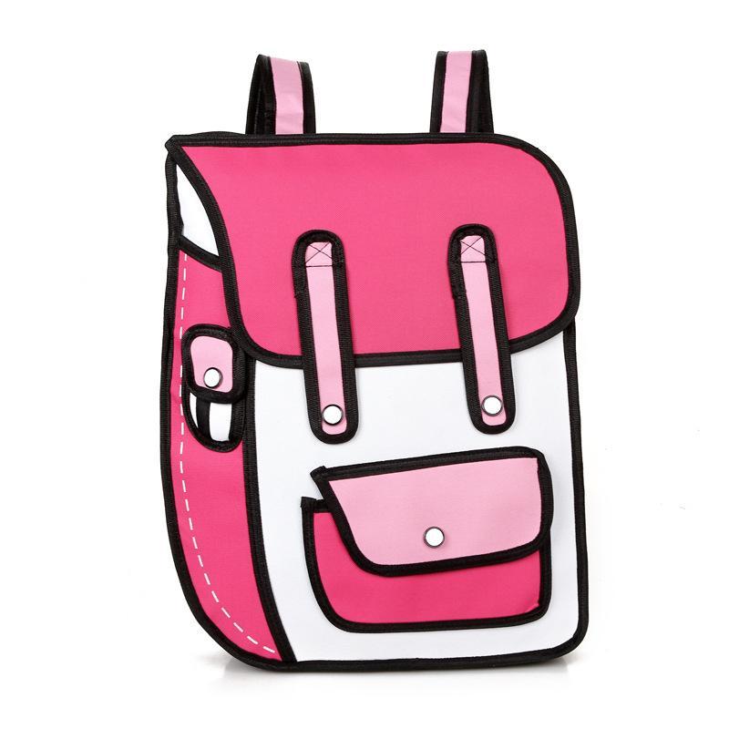2017 neue 3D Jump Stil 2D Zeichnung Cartoon Papiertüte Comic Rucksack Messenger Tote Mode Niedlichen Student Taschen Unisex Bolos 6 Farben