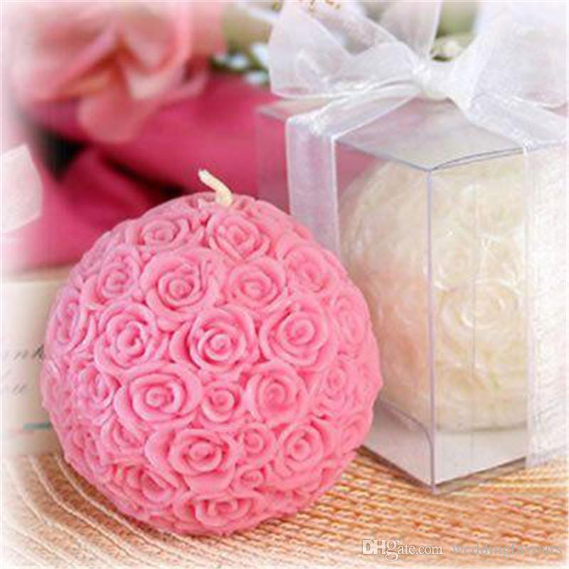 Wedding Candle Favors 2 Rose Ball Candle Bridal Shower Party Favors