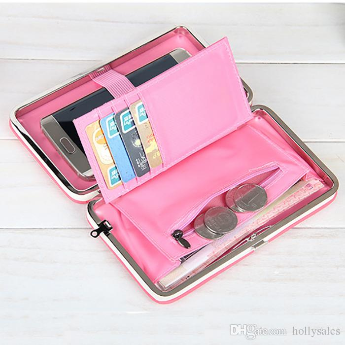 Borsa da donna carina borsa colorata Portafoglio lungo portamonete supporto della carta del telefono frizione di grande capacità custodia del cellulare con slot carta di credito