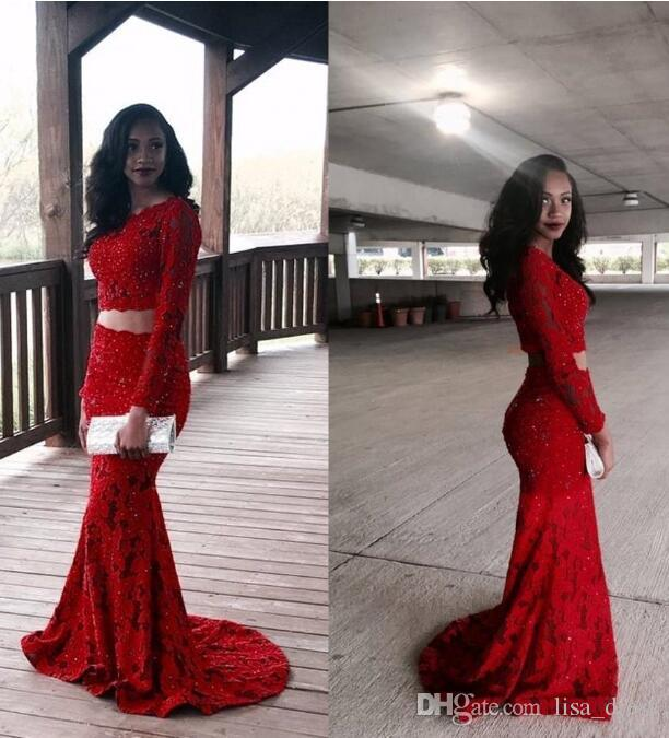 c33ddd91567 Burgundy Two Pieces Mermaid Prom Dresses Dubai Jewel Neck Long Sleeves Lace  Appliques African Style Beads Sequins Formal Evening Gowns The Winner Prom  ...