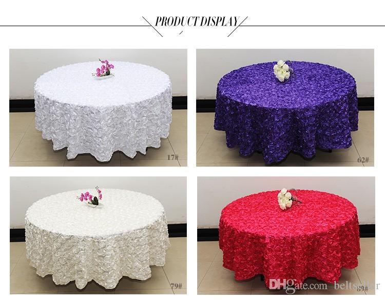 Beyaz 2.6 m Düğün Yuvarlak Masa Örtüsü bindirmeler 3D Gül Çiçek Masa örtüler Düğün Dekorasyon Tedarikçi 7 Renk Ücretsiz Kargo