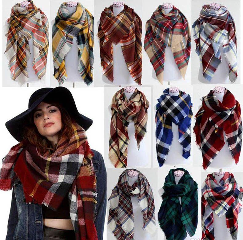 f64a6f91bf41 Winter Tartan Scarf Plaid Blanket Scarf New Designer Unisex Acrylic Basic Shawls  Women S Scarves Big Size 140  140 CM Hijab Bandana From Dateclub