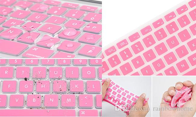 Laptop Soft Silicone Colorful KeyBoard Case Protector Cover Skin For MacBook Pro Air Retina 11 12 13 15 17 Waterproof Dustproof retail box