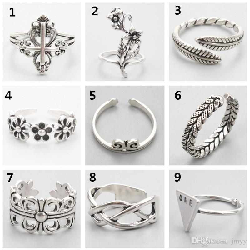 2020 Newly Increased 310 Designs Vintage 925 Silver Rings Adjustable Thai Silver Cross Feather Star Rings Women Ring Men Ring Party Gift