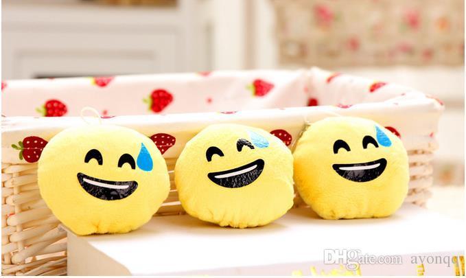 BFFA128 heißer QQ Emoji keychain Lächeln-Kissen Accessori kleine Plüsch-Puppe Keychain hängender Gefühl-gelber Ausdruck füllte Spielwaren Weihnachtsgeschenk an