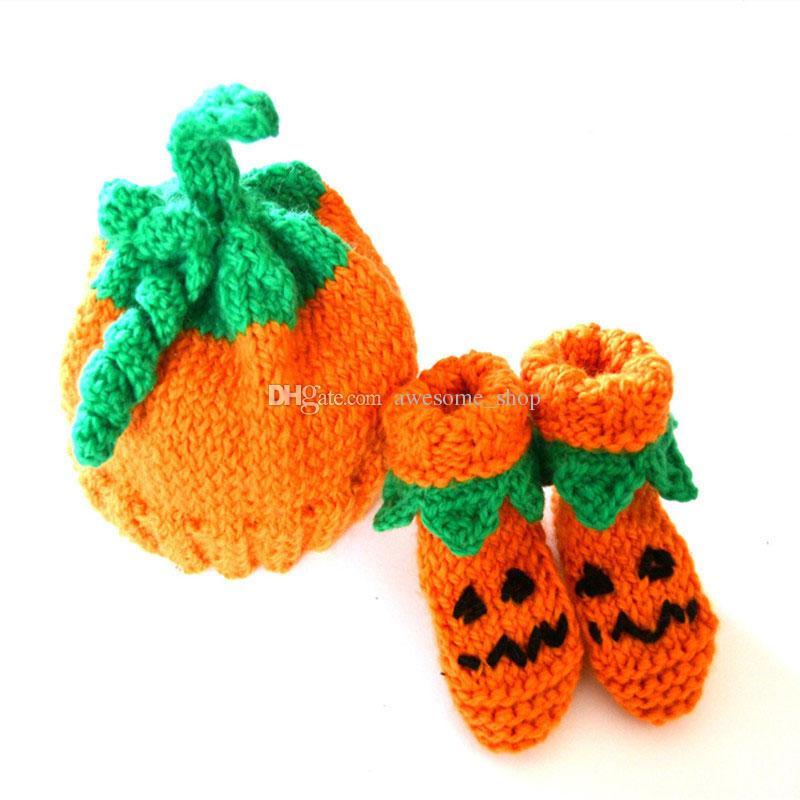 Novelty Newborn Orange Pumpkin Outfit,Handmade Knit Crochet Baby Boy Girl Pumpkin Beanie Hat Booties Set,Halloween Costume,Infant Photo Prop