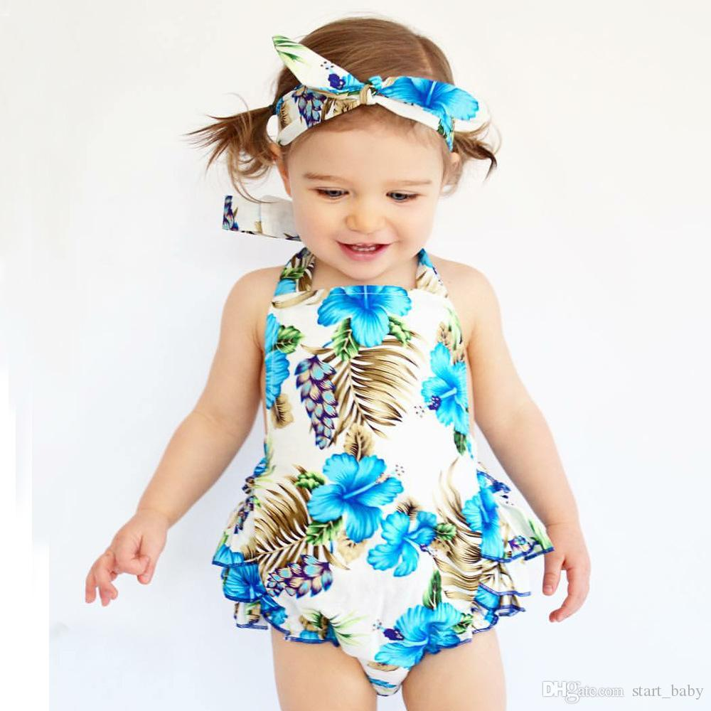 56cb3f41aa9 2018 New Baby INS Flower Rompers Girls Cotton Flower Romper+Hair Band Sets  Baby Clothes 0-3years Baby INS Flower Rompers Girls Romper Headband Pants  Set ...
