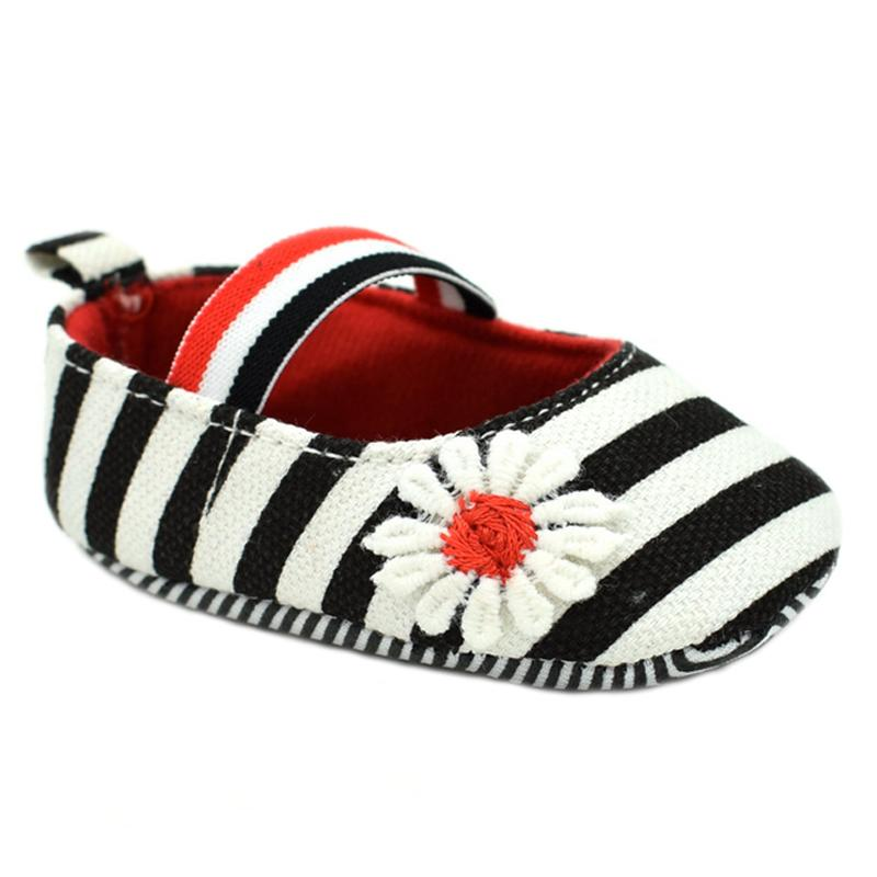 44487d280507 2019 Wholesale Baby Girl Blue Walking Shoes Toddler Striped Prewalker  Elastic Band Soft Sole First Walker With Pretty White Flower Size 4 5 5.5  From ...