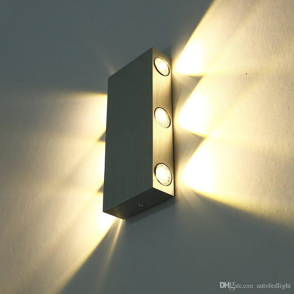 Modern Pure White 18W High Power 6 LED Up Down Wall Lamp Spot Light Sconce Lighting Convex Mirror LED Wall Sconce Decor