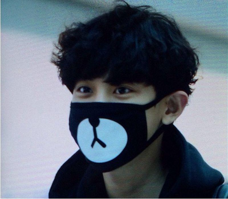 2016 Black Anti-Dust Cotton Cute Bear Mouth Mask Kpop EXO Chanyeol Chan