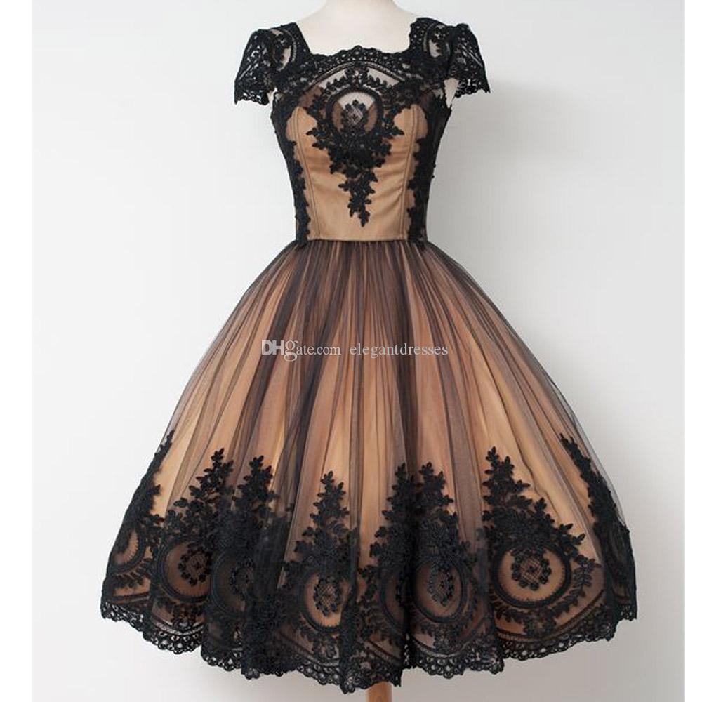 Custmo 저렴한 2021 짧은 홈 컴컴스 드레스 Vestidos de Coctel Vestido de Festa Curto Black Color Prom Dresses