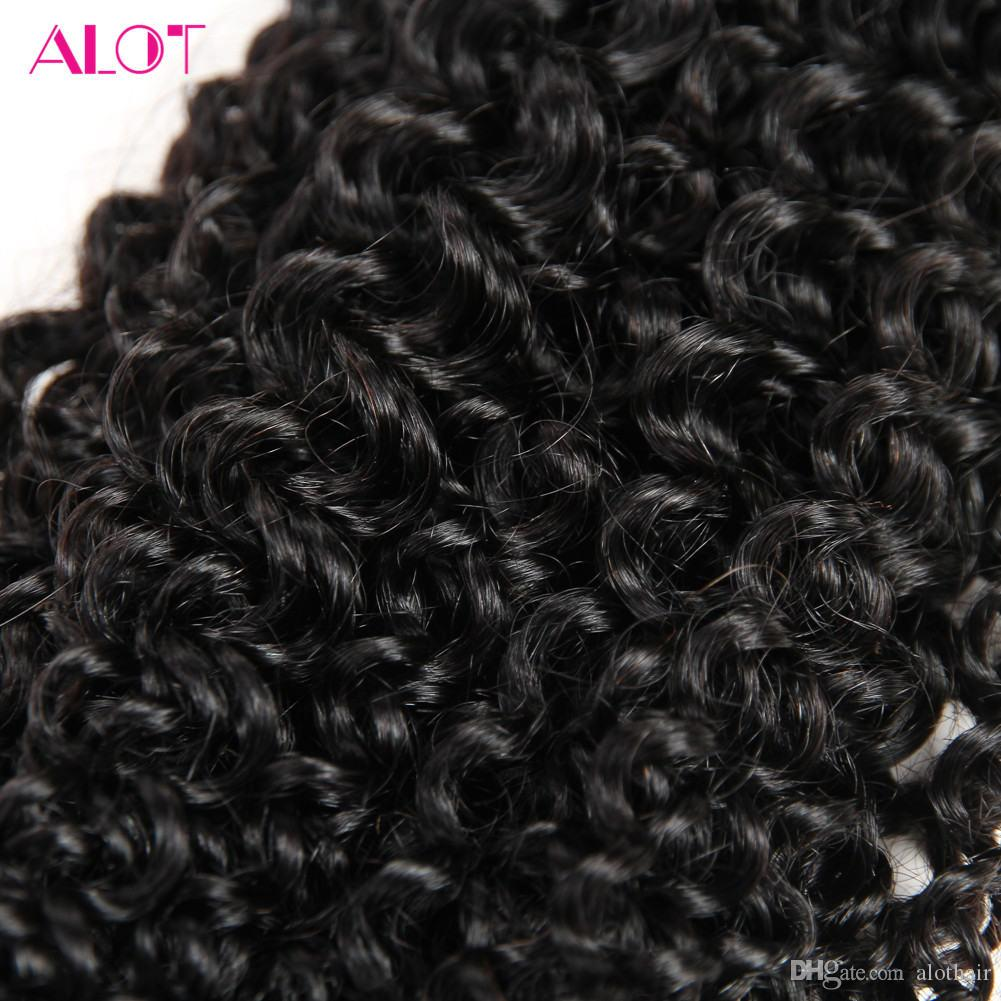 Brazilian Virgin Human Hair Bundles with Closure Unprocessed Brazillian Peruvian Indian Malaysian Kinky Curly Hair 4 Bundles with Closure