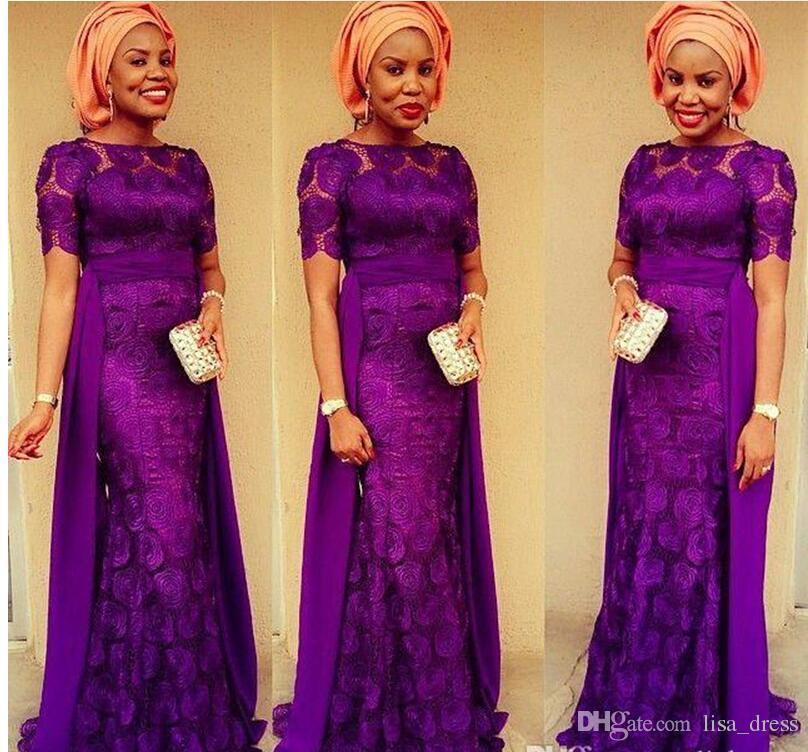Pourpre Mère De La Mariée Robes Araric Abaya Manches Courtes Sirène Robe De Bal Robe De Soirée Robes Plus La Taille Robe Arabe Robe De Soirée