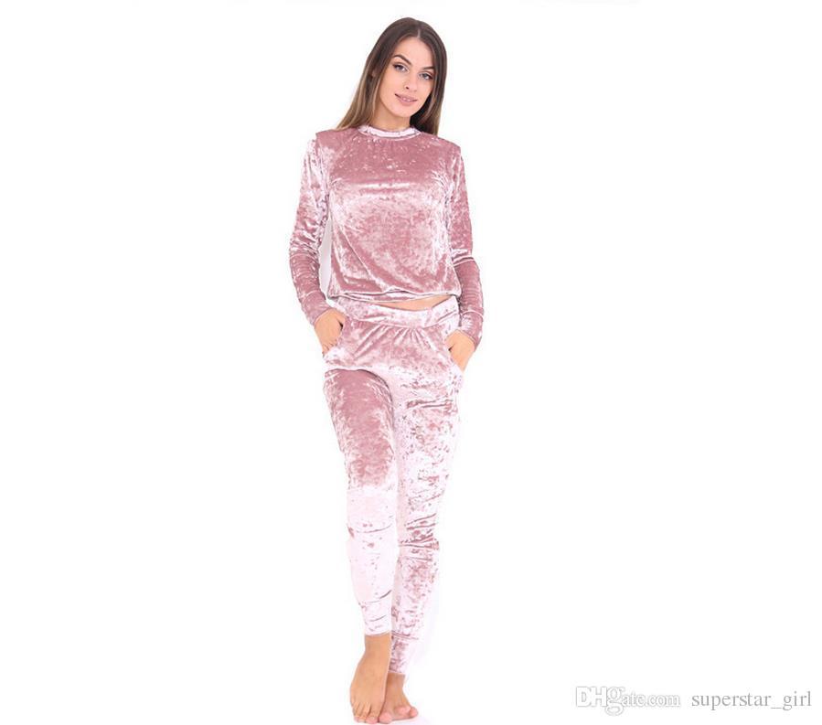 Бархат спортивный костюм из двух частей набор женщин сексуальный розовый с длинным рукавом и брюки боди костюм взлетно-посадочной полосы мода 2017 Trainingspak плюс размер 3XL