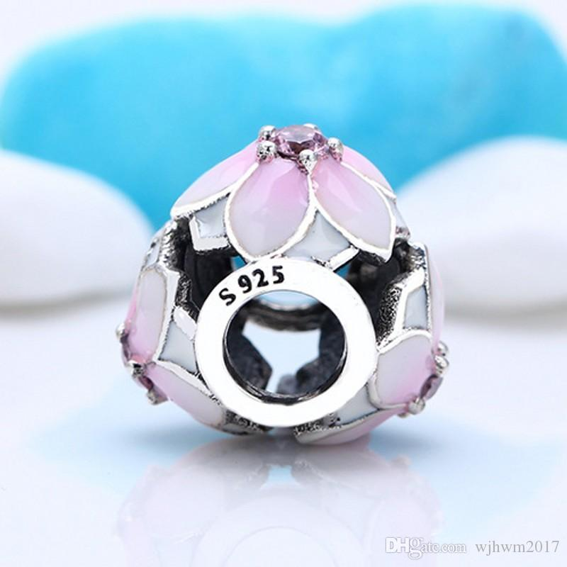 Enamel Magnolia Bloom Charms Beads Authentic 925 Sterling-Silver-Jewelry Pink Crystal Flower Bead For DIY Brand Bracelets Making Accessories