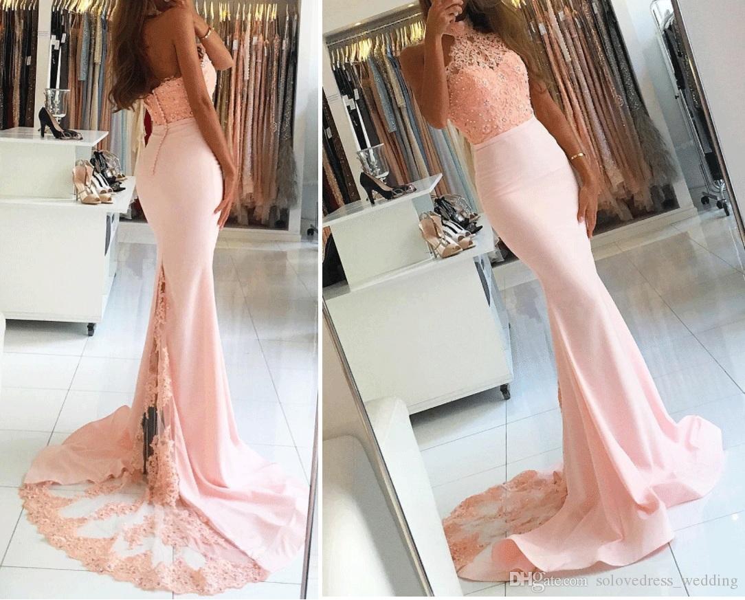 2019 Nueva sirena de encaje rosa Vestidos de fiesta fuera del hombro Cabestro moldeado Apliques Longitud del cordón Vestidos largos de noche Vestido de fiesta Vestido